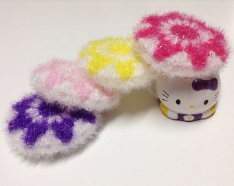 Crochet / Flower Scrubbers, set of four