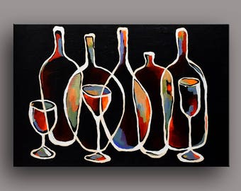 "36""W x 24""H Original Acrylic Painting Abstract Still Life Wine Bottles Modern Art by Mike Daneshi. Free Shipping Within U.S.A. and CANADA"