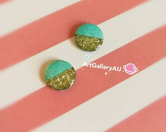 Kawaii glitter Handmade Stud Earrings, Cute green Studs, macaron colour Earrings, round shape Earrings, Gift for Her