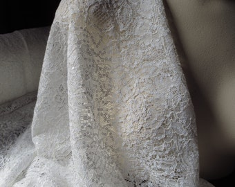 Ivory Beaded Lace Fabric for Bridal, Wedding Party, Garments