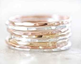 Stacking Rings / Birthday Gift / Gift for Her / Rose Gold Stacking Ring Set / Stacking Rings Gold / Stacking Rings Silver / Ring Set
