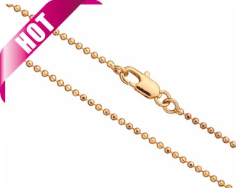 16Inch Necklace Ball Chain, Gold Finished 1.5mm Ball With Lobster Claw Clasp  2Chain
