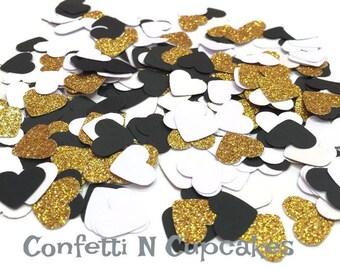 Glitter Confetti/ Black White Gold Glitter Heart Confetti/Birthday Decor/Bachlorette party/Wedding Shower/Gold decorations/glitter party/
