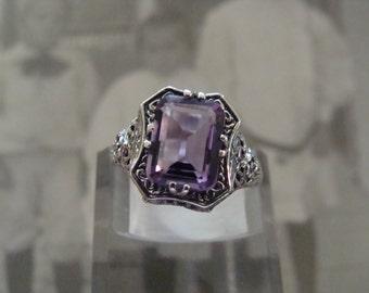 Pretty Sterling Brazilian Amethyst Filigree Ring  Size 6.75 Victorian style
