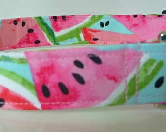 "Watermelon Fruit Dog Collar - - Summer Dog Collar - Pink Red & Turquoise - Boy/Girl Dog Collar -  ""Juicy Goodness"" - Free Colored Buckles"