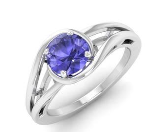 Natural Tanzanite Ring, 14K White Gold, Tanzanite Engagement Ring, December Birthstone Ring, Solitaire Ring, Gemstone Ring, Tanzanite Ring