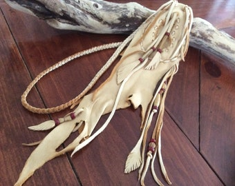 Amulet Bag, Handmade OOAK  Leather Medicine Pouch  Braid Necklace, Unique  Medicine Bag, Leather Feathers and Beads, Made in Canada