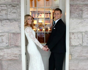 Lace Wedding Gown with Full Length Sleeves and Covered Back, Custom Made Wedding Dress