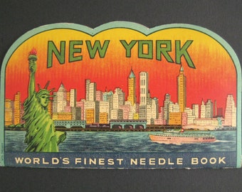 NEW YORK souvenir Needle book vintage sewing ephemera worlds finest needle book Statue of Liberty