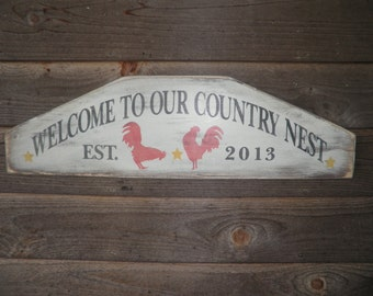 Primitive country decor, Welcome sign, Welcome to our country home. rooster sign , personalized