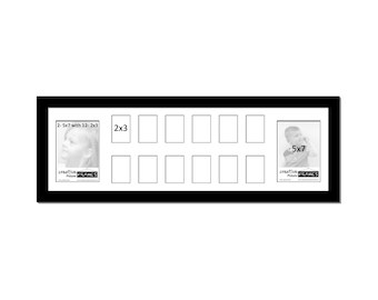 School Year Collage - 14 Opening 12x34-inch Picture Frame - Holds 2-5x7 and 12-2x3 Wallet Size Photos, Preschool through HS Graduation