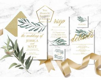 Greenery Wedding Invitation Template, Olive Tree Wedding Invite Printable, Greenery Wedding Invitations, Eucalyptus Gold