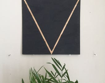 "Black Triangle 008, 8""x8"" painting on oak plywood"