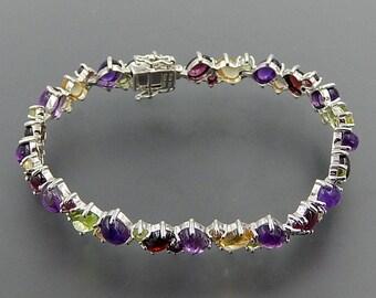 "Wonderful sterling silver multi gemstone cabochon cluster tennis bracelet 8"" SKU 5550"