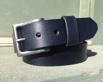 Plain Black Leather Belt, Hand Made Leather Belt, Full Grain Leather, 100% Leather