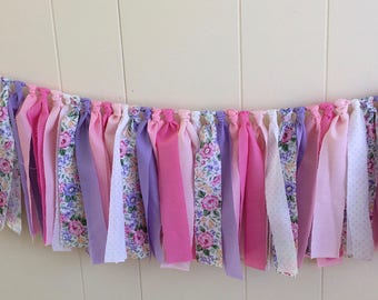 Birthday Rag Tie , Rag Fringe, Fabric Banner,  Nursery, Shower, Tea Party,  Cottage Style, Garland, Wedding, Photo Prop