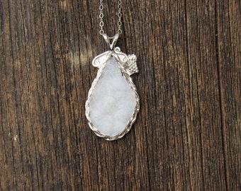 Sparkling Dusty Crystal Cluster Sterling Sliver Necklace