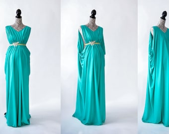 One piece Grecian gown tutorial. For maternity or non-maternity. Photography prop. Maxi dress sewing DIY