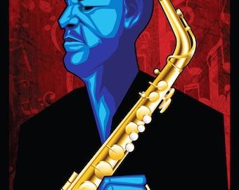 Blue Funk Jazz Wrap Wall Art