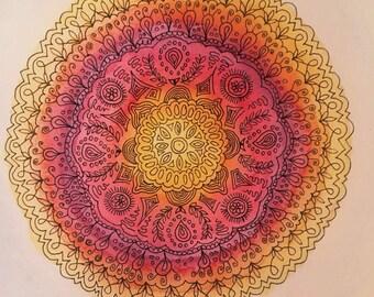 Mandala. Watercolor and China. Cardboard 100% cotton