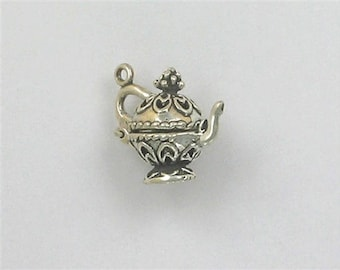 Sterling Silver 3-D Ornate Teapot Charm