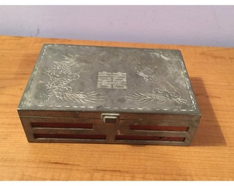 "VTG Wood Metal Etched Double Dragon Overlay Asian Trinket Jewelry Box 6"" X 4"". Made in Hong Kong."