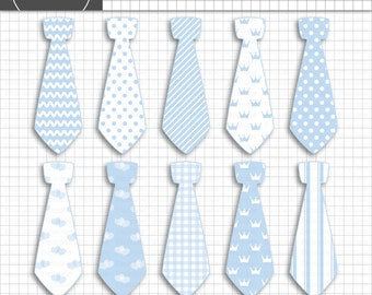 Baby Shower Clip Art, Neck Tie Clipart, Baby Boy Digital Images, Commercial Use, Instant Download