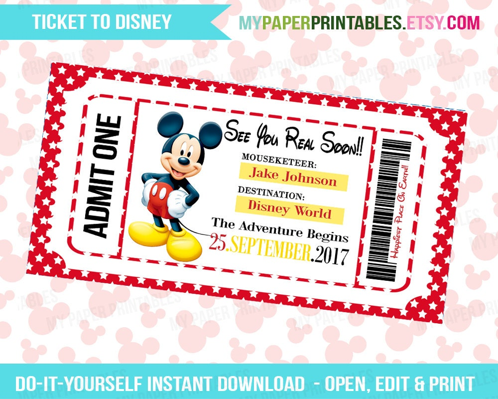 Printable Ticket To Disney DIY Personalize INSTANT DOWNLOAD - Disney surprise letter template