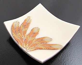 Polymer Clay Bowl, Square Jewelry Dish, White and Orange Feather Bowl, Small Trinket Holder, Southwestern Decor, Hostess Gift