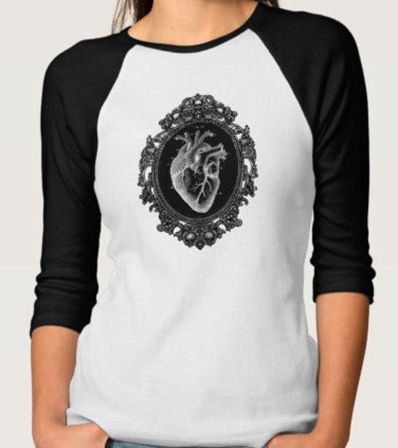 Black Anatomical Heart Raglan