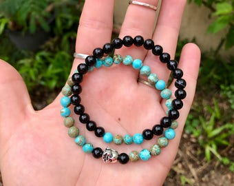 Beaded Stretch Healing Crystal Bracelet Duo with Magnesite, Black Agate and Silver Plates Buddha Head. Yoga Mala Natural Healing