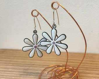 White Lilac Daisy Earrings