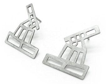 City Map silver geometric stud earrings