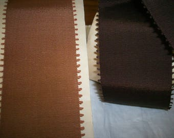 "vintage picot grosgrain ribbon chocolate or caramel 2 "" width"