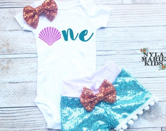 Mermaid Birthday Outfit, Girls 1st Birthday, Baby Girl Clothes, Birthday Outfit, Girls Birthday Outfit,, Seashell Outfit, Toddler Girls