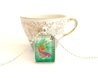fish necklace, vintage postage stamp Magyar Posta 1987, unisex fish pendant, hipster jewelry