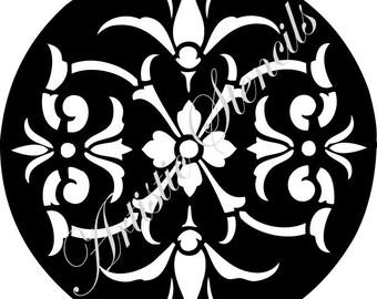 STENCIL Round Floral Damask Background Wallpaper 10x10