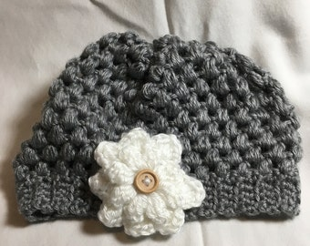 Baby Girl Flower Hat, Hand Crocheted