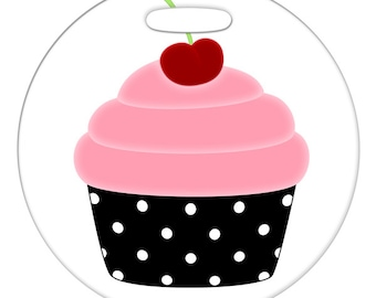 Luggage Tag - Pink Cupcake - 2.5 inch or 4 Inch Large Round Plastic Bag Tag