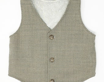 Boys Tan and Pewter Grey Tweed Vest, Toddler Boys Grey Vest, Baby Vest, Boys Tweed Vest, Rustic Wedding, Ring Bearer Outfit,  Boyish Charm