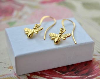 Gold Bee Earrings, Bee Dangle Earrings, Honey Bee Jewelry, Gold Vermeil Earrings, Cute Gold Earrings, Bumble Bee Gifts, Bee Lovers Gift