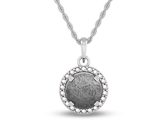 June Birthstone Pendant Necklace, Meteorite Pendant With White Pearl Halo, 14k White Gold Rope Chain Necklaces