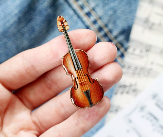 Violin brooch - Wooden brooch - Music brooch - Sheet music jewelry