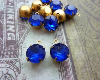 Vintage Glass Rhinestone Drop Charm in Brass Prong Setting 11mm Cobalt Blue Drop (2)