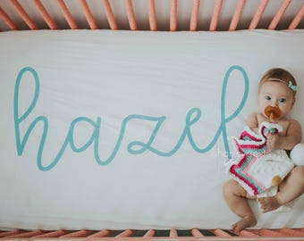 Personalized Crib Sheet, Personalized Baby Bedding, Baby Girl Bedding, Baby Boy Bedding, Personalized Bedding