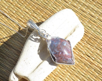 Raspberry Ripple Agate Pendant .935 Argentium Sterling Silver Wire Wrapped