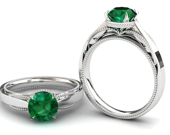 Emerald Engagement Ring 1.50 Carat Emerald Solitaire Ring In 14k or 18k White Gold SJW1GW