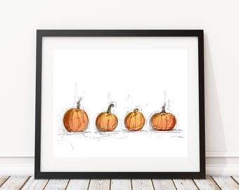 Pumpkins Sketch Overlay   8x10 Wall Art