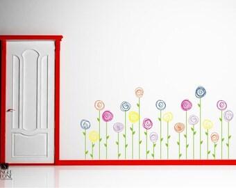Nursery Flowers Wall Decals Doodle Flower Garden - Vinyl Wall Decals Custom Home Decor