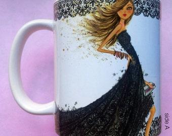 Liana Loves Lace, Coffee Mug, Fashion illustration, Bella Pilar, Fashion mug